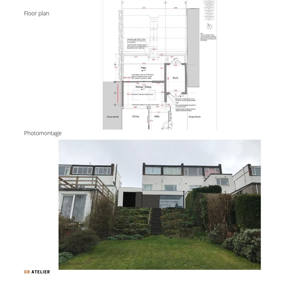 Single storey rear extension and internal alterations to semi-detached 1930s Art Deco property in Le